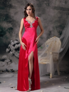 Beading Ruch Coral Red Prom Dress Elastic Wove Satin
