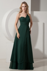 One Shoulder Chiffon Ruch Prom Dress Dark Green A-line