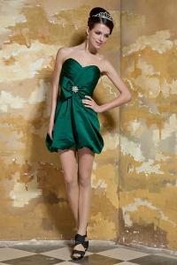 Taffeta Beading Prom Dress Mini-length in Dark Green