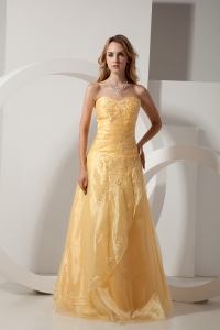 Gold Embroidery Beading Prom Dress Sweetheart Organza