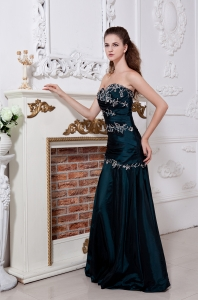Green Embroidery Prom Dress Sweetheart Taffeta Ruch