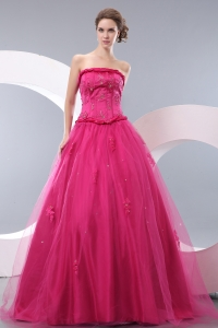 Hot Pink A-line Tulle Beading Prom / Evening Dress