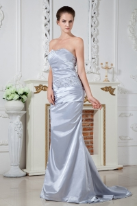 Strapless Brush Train Satin Beading Ruch Prom Dress Silver