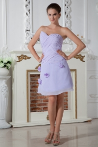 Knee-length Ruch Hand Made Flowers Prom Dress Lilac