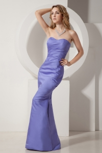 Unique Lilac Mermaid Prom Party Dress Taffeta Ruch
