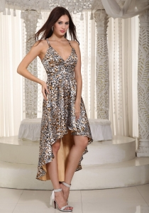 Multi-color High-low Zebra Prom Dress A-line Straps