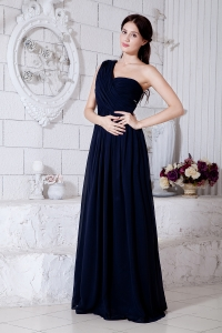 Navy Blue Brush Prom / Evening Dress One Shoulder Empire