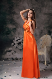 Orange Red Empire Halter Prom Dress Taffeta Beading