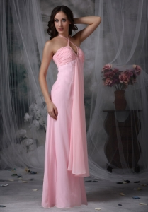 Halter Baby Pink Chiffon Beading Prom Dress Empire