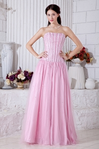 Strapless Tulle Prom / Evening Dress Pink Beading