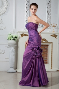 Strapless Beading Purple Prom Dress Hand Made Flowers