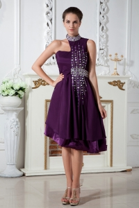 Asymmetrical Knee-length Purple Prom Dress Chiffon Beading
