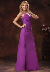 Discount Purple Prom Dress Straps Ruched Empire
