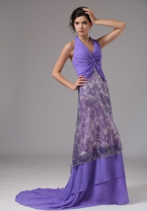 Custom Made Halter Ruched Purrple Rrom Dress Brush Train