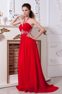 Beading Red Halter Prom Dress Empire Brush Chiffon