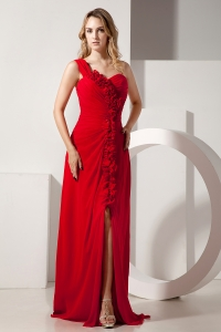 Red Prom / Evening Dress One Shoulder Hand Made Flowers