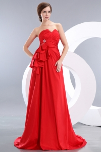 Sweetheart Taffeta Beading Red Prom / Evening Dress Brush
