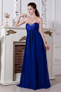 Empire Sweetheart Royal Blue Prom Dress Chiffon Beading