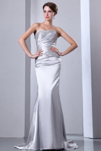 Brush Train Elastic Wove Satin Beading Prom Dress Silver