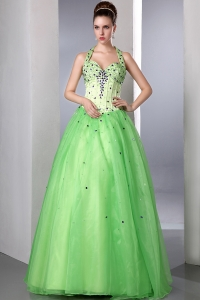 Halter Spring Green Prom Dress Satin Organza Beading