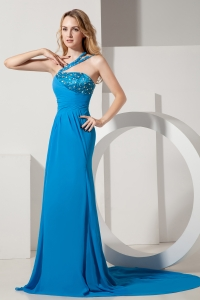 Teal Prom Dress One Shoulder Brush Train Chiffon Beading