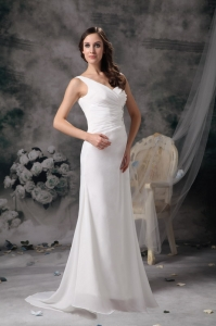 One Shoulder White Prom Dress Brush Train Beading Ruch