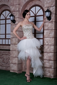 High-low Beading Prom Evening Dress White Taffeta Tulle