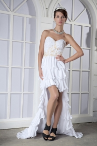 Sweetheart White High-low Prom Dress Chiffon Beading