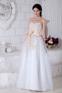 White Organza Appliques Prom / Evening Dress Sweetheart