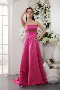Satin Beading Hot Pink Prom / Evening Dress Brush Train