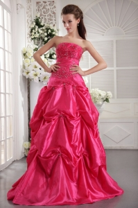 Prom/Evening Dress Hot Pink Strapless Taffeta Beading