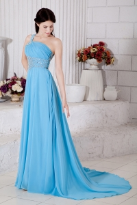 One Shoulder Beading Aqua Blue Prom / Evening Dress Brush