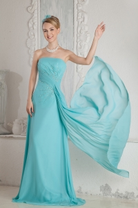 Brush Chiffon Beading Aqua Blue Prom Dress Ruched