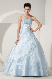 Organza Baby Blue Beading Embroidery Prom Dress A-line