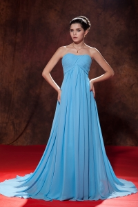 Empire Strapless Baby Blue Prom Dress Court Tain Ruch
