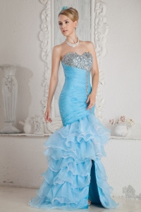 Mermaid High-low Baby Blue Prom Dress Organza Ruch Beading