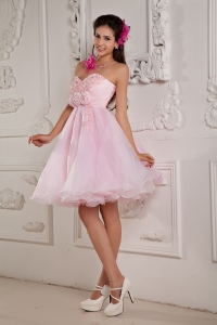 Baby Pink Organza Mini Prom Dress Beading Appliques