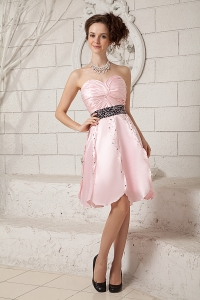 Baby Pink Knee-length Taffeta Prom Dress Beading Ruch