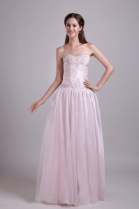 Baby Pink Organza Beading Prom/Homecoming Dress Sweetheart