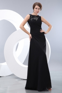 Bateau Taffeta Beading Prom/Evening Dress Black Column