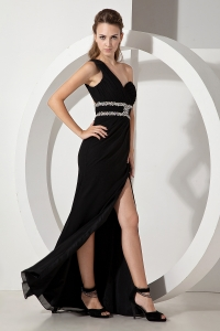 One Shoulder Black Chiffon Beading Prom Dress Column