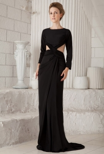 Bateau Scoop Long Sleeves Black Prom Dress Brush Chiffon