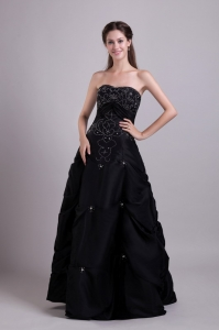 Strapless Black Prom Dress Beaded Empire Taffeta 2013