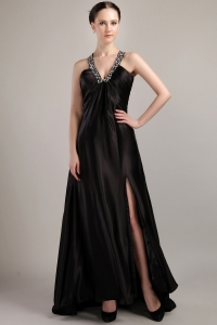 Elastic Black Woven Satin Beading Prom Dress V-neck Sweep