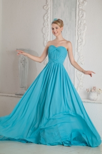 Brush Train Aqua Blue Prom Dress A-line Chiffon Ruch
