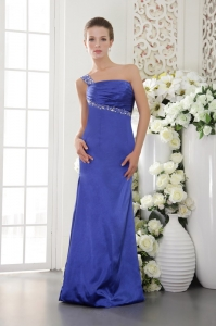Blue One Shoulder Prom / Evening Dress Satin Beading