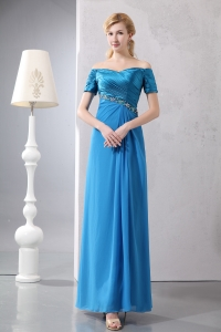 Off The Shoulder Blue Prom Dress Taffeta Chiffon Beading