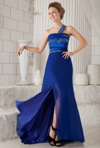 Royal Blue One Shoulder Prom Dress Beading Brush Slit