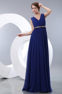 Royal Blue Chiffon Prom/Evening Dress Brush Beaded Belt