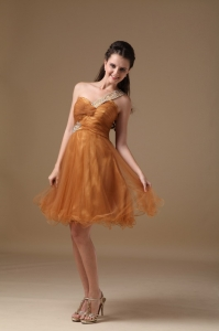 One Shoulder Mini-length Brown Prom Dress Organza Beading